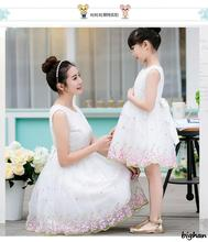 Lace Dress Mother Daughter Dresses Vestido Family Matching Pajamas Big Bow Mother and Baby for wedding 2016 Women O-neck Dress