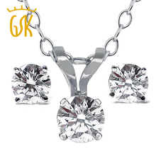 Real 14K White Gold Pendant and Earrings Necklace Set  0.65 Ct Natural Diamond Jewelry Sets For Women GemStoneKing(China (Mainland))
