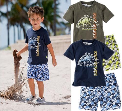 Free shipping Baby kids Summer Fall Beach suit Boys Dinosaur T-Shirt Pants Shorts Outfit Sets(China (Mainland))