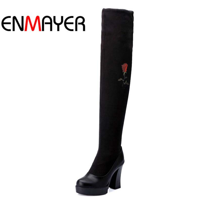 ENMAYER Flowers Flock Over-the-Knee Boots Shoes New Round Toe High Winter Boots New Black Red Blue Long Boots Women Warm Snow