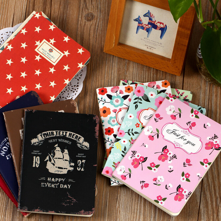 Гаджет  A6 Cute Kawaii Flower Notebook Vintage Retro England Navigation Style Notepad with lined Paper Exercise book Free shipping 302 None Офисные и Школьные принадлежности