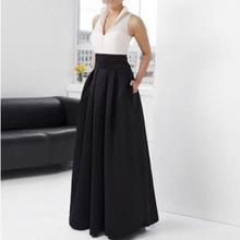 2016 High Quality Long Satin Women Skirts Graceful Black Pockets High Wide Waist Floor Length Evening Party Skirts Custom Made