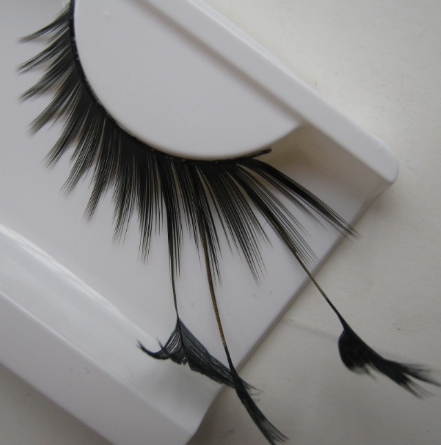 1 pairs Stage art form feather false eyelashes for women makeup eye tail lengthened black feathers F085 extended YM82(China (Mainland))