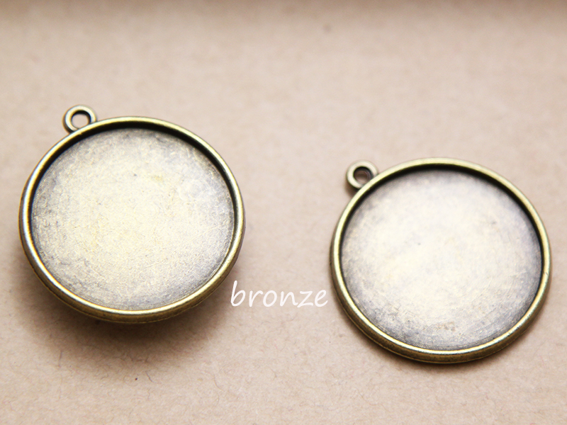 50pcs 25mm Round Double Side Blank Vintage Pendant blank Bezel Trays Pendant Camo Cabochons Setting,(China (Mainland))