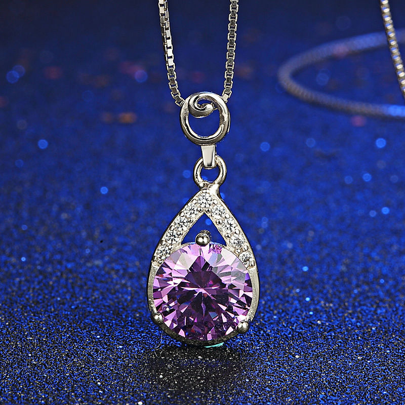 Fashion Fine Jewelry Pendant Necklace Genuine Amethyst Gems Pendant 925 Sterling Silver Box Chain Necklace Friendship Necklace(China (Mainland))