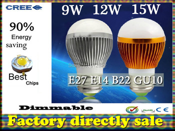 Factory diectly sale50pcs/lot led bulb Bubble Ball Bulb globe bulb E27 GU10 B22 E14 9W 12W 15W AC85-265V led lamps free shipping