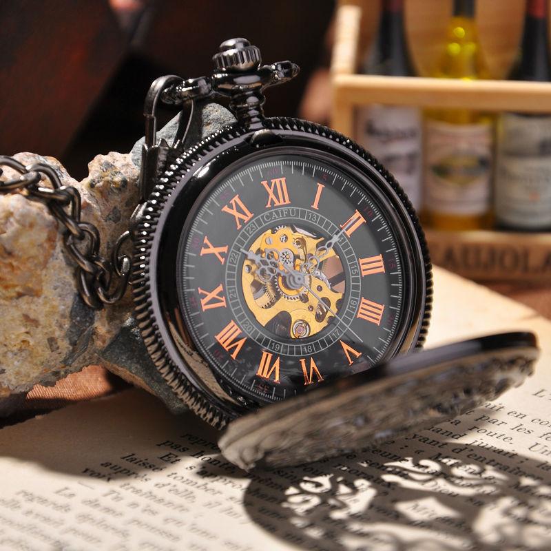 Steampunk Pocket Watch 2015 New Design Luxury Brand Fashion Skeleton Watches Hand Wind Mechanical Pocket Watch(China (Mainland))