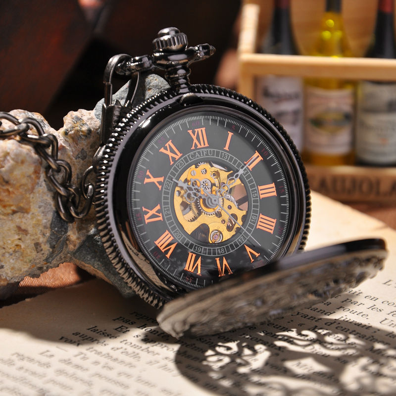 Steampunk Pocket Watch 2015 New Design Luxury Brand Fashion Skeleton Watches Hand Wind Mechanical Pocket Watch(China (Mainland))