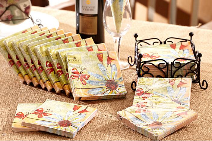 Free shipping 12packs100% virgin wood pulp food-grade printed paper napkins wedding paper napkin colorful tissue paper serviette()