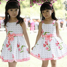 Kids Girls Bowknot Flower Dress One Piece Party Dress Sundress Costume 2-6Y 1pcs