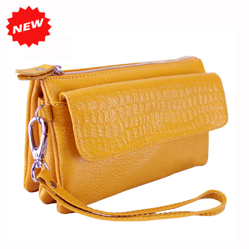 100% Genuine Leather Multifunctional Women Handbag Cowhide Day Clutch Coin Purse Evening Bag Clutches DC02(China (Mainland))