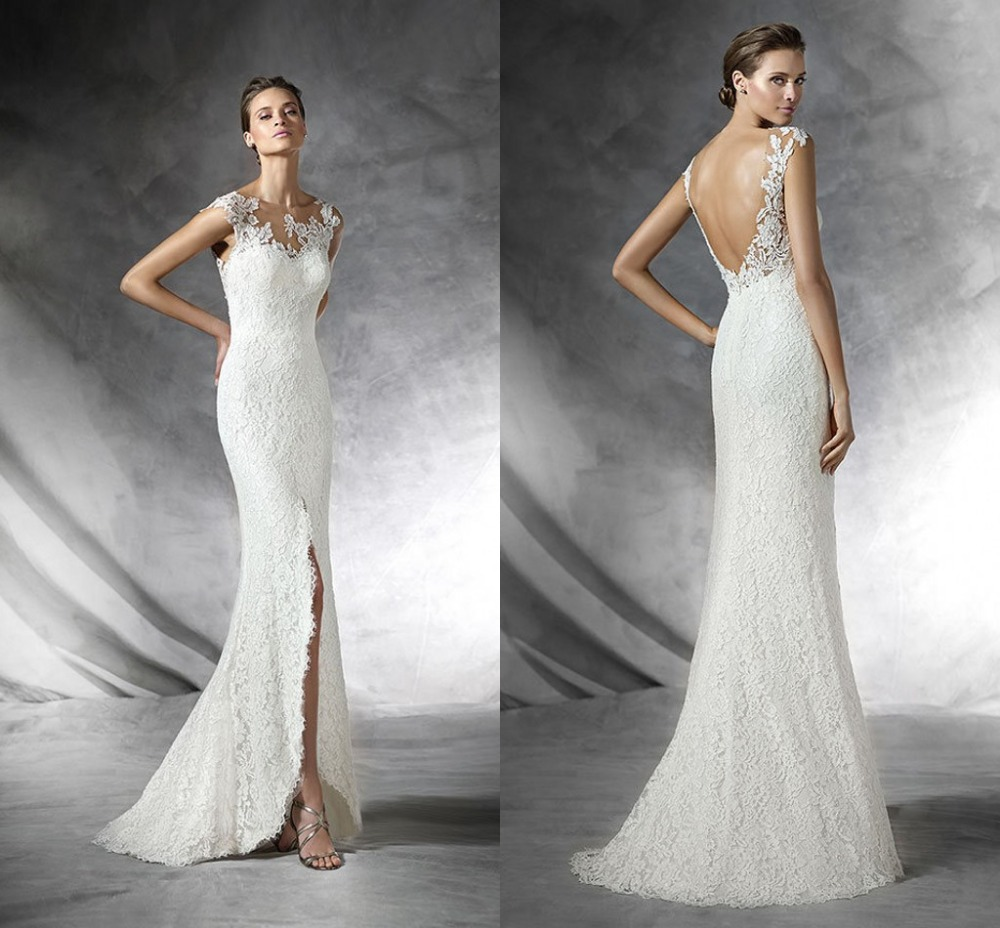 Vintage wedding dresses 2015 lace applique sheath backless for Vintage backless wedding dresses