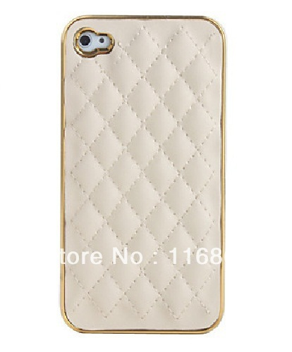 Grid Pattern PU Leather Case for Phone 4/4S