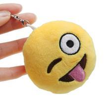 Con estilo 11 colores pequeña Emoji Emoticon divertido llavero bebé cara redonda suave peluche de felpa de juguete de regalo colgante del bolso del coche accesorio(China (Mainland))