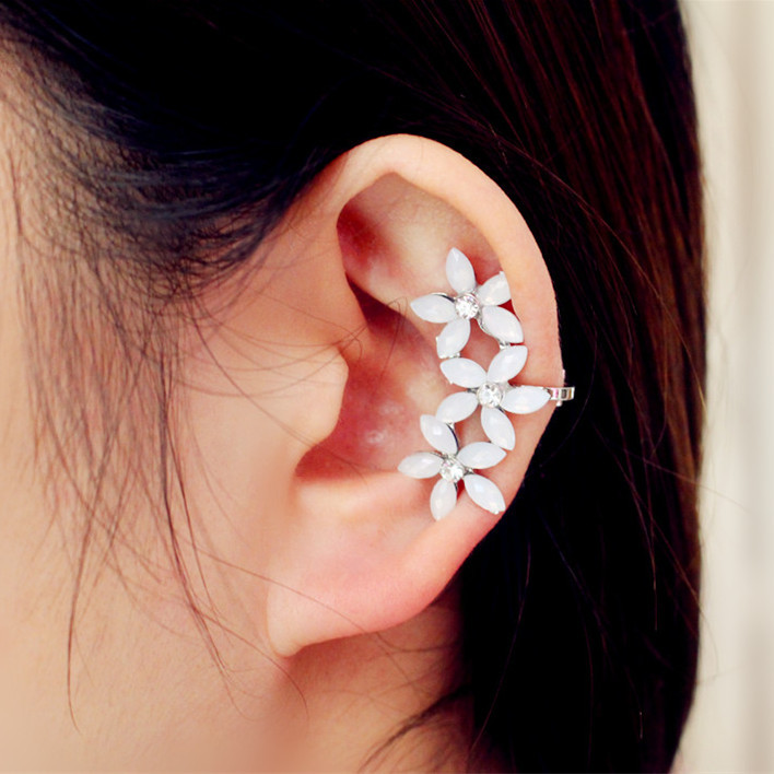 Hot New Classic Fashion Personality Inlaying Resin Flower Gorgeous Attractive Ear Cuff Clip Earrings For Women Free Shipping 123<br><br>Aliexpress