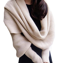 New Design Women Solid Scarf With Sleeve Crochet Knit Long Soft Wrap Winter Shawl Scarves(China (Mainland))