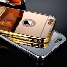 2016 newest Luxury 2 in 1 aluminum ultra-thin mirror metal bumper mobile phone case cover for Iphone 6plus 6splus