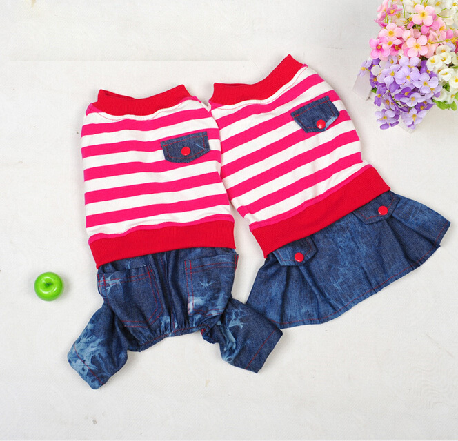 2015 Stripe Clothing For Dogs Autumn And Spring Dog Jumpsuit Small Dog Clothing Skirt For Female Or Male Clothes(China (Mainland))