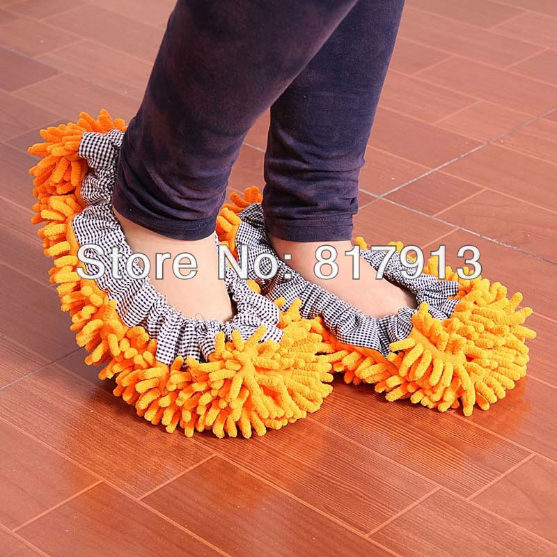 free shipping chenille cleaning cover on feet for lazy people mopping floor(China (Mainland))