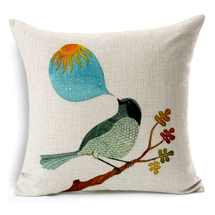 Simple Design Bird Cushion Cover Pillow Case Home Decor Almofadas 18 18inch Printed Linen Cotton Hotel