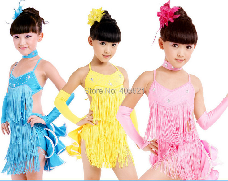 Fashion Girls Tassel Sequins Veil Dress Skirt Children's Dancewear Performance Clothes Modern Latin Dance Stage Costume, 3 color - Party Girl Dancer Wear Co.,Ltd store