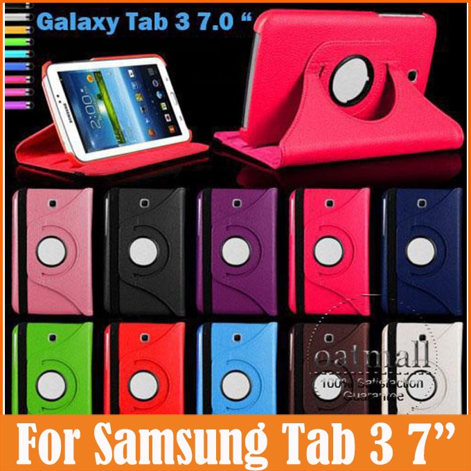 360 Degree Rotating PU Leather Flip Cover Samsung Galaxy Tab 3 7.0 Case P3200 P3210 7 inch Tablet Stand Folding Folio - Oasis Trading Company LMT store