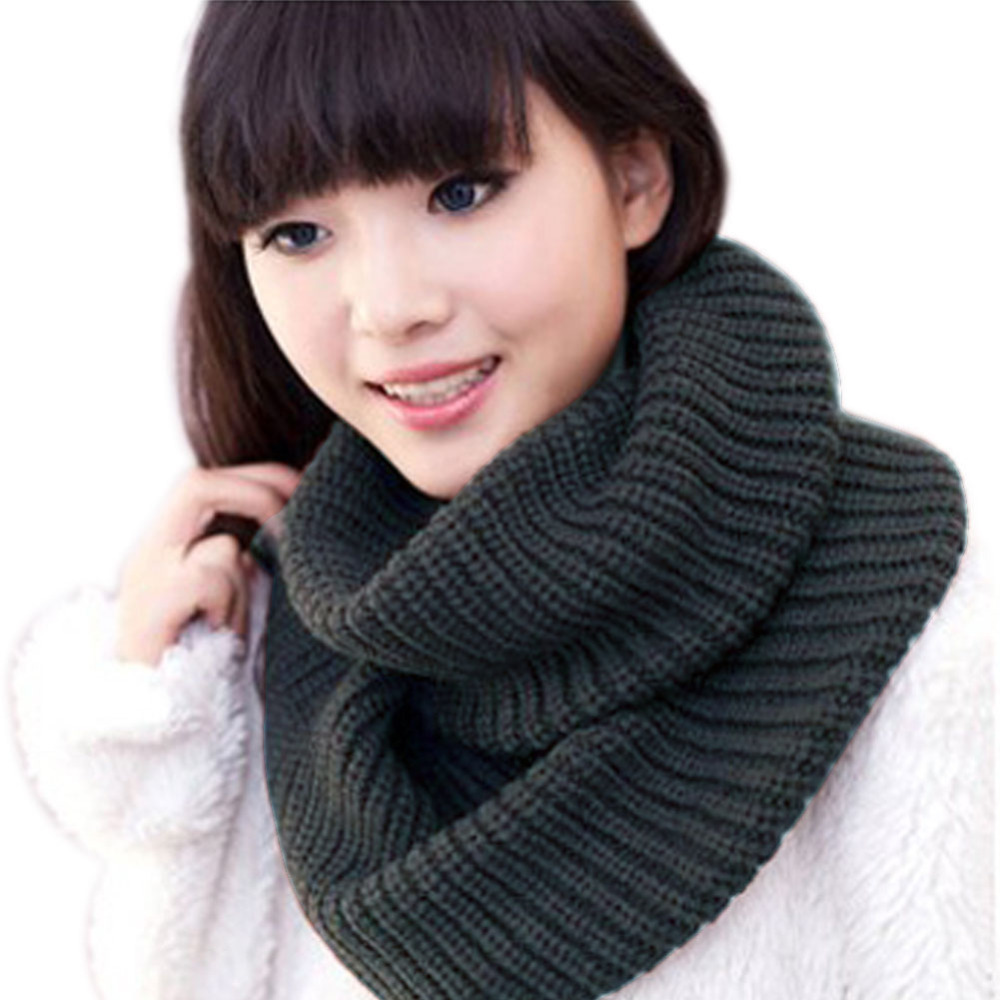 Ladies Girls All-match Winter Warm Knitting Wool Collar Neck Warmer Scarf Shawl Wraps High Quality(China (Mainland))