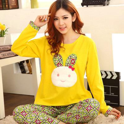 plus size 2015 spring winter women sexy satin pajamas femininos cartoon print loose warm pajamas set sleepwear nightwear Lounge