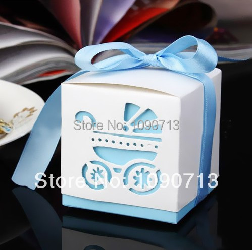 Free Shipping 20Pcs Creative Sky Blue Hollow Carriage Candy Box Baby Shower Favors Gifts Candy Boxes Supplies(China (Mainland))