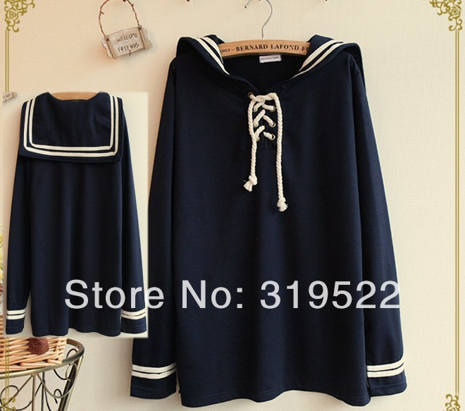 Vintage personalized sailor collar t-shirt  long sleeve t-shirt tee top femaleОдежда и ак�е��уары<br><br><br>Aliexpress