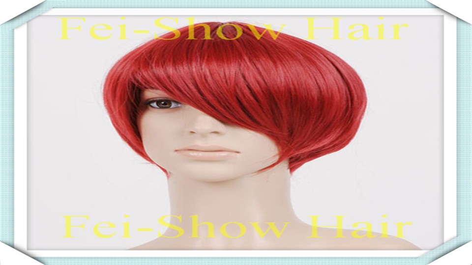 2015 New Arrival Short Harajuku Anime Red Cosplay Wavy Wig With Synthetic Heat Resistant Hair (1pc Hairset+One Wig Cap)(China (Mainland))
