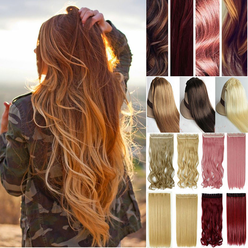60cm 24inch One Piece Cheap Clip In Hair Extensions Natural Curly Hairpiece Synthetic Hair Extension T01(China (Mainland))