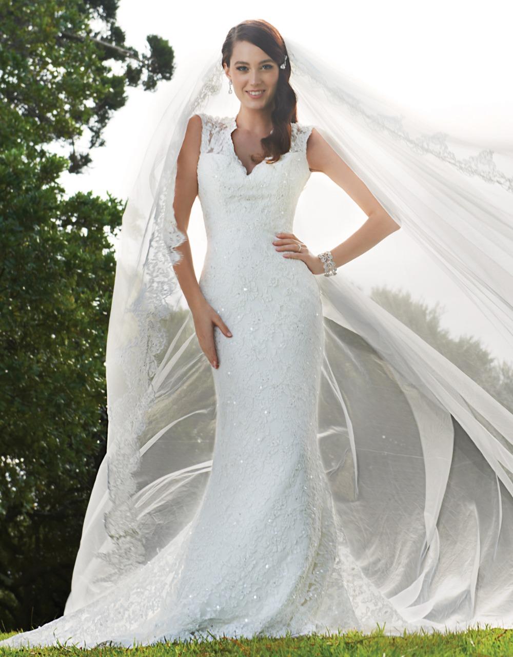 Vestidos de novia 2016 2015 v neck lace country style for Country style lace wedding dress