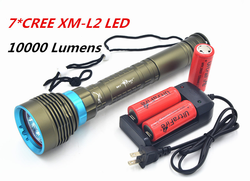 SKYRAY Waterproof 150M 7xCREE XM-L L2 LED 10000LM Scuba Diving Flashlight Torch + Charger+ 3x Rechargeable 26650 Battery(China (Mainland))