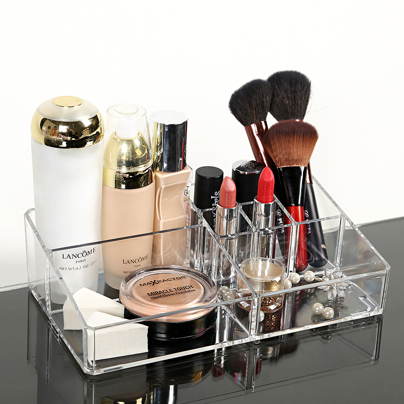 Woman Acrylic Cosmetic Organizer Clear Makeup Jewelry Cosmetic Storage Display Box Acrylic Case Stand Rack Holder Organizer Box(China (Mainland))