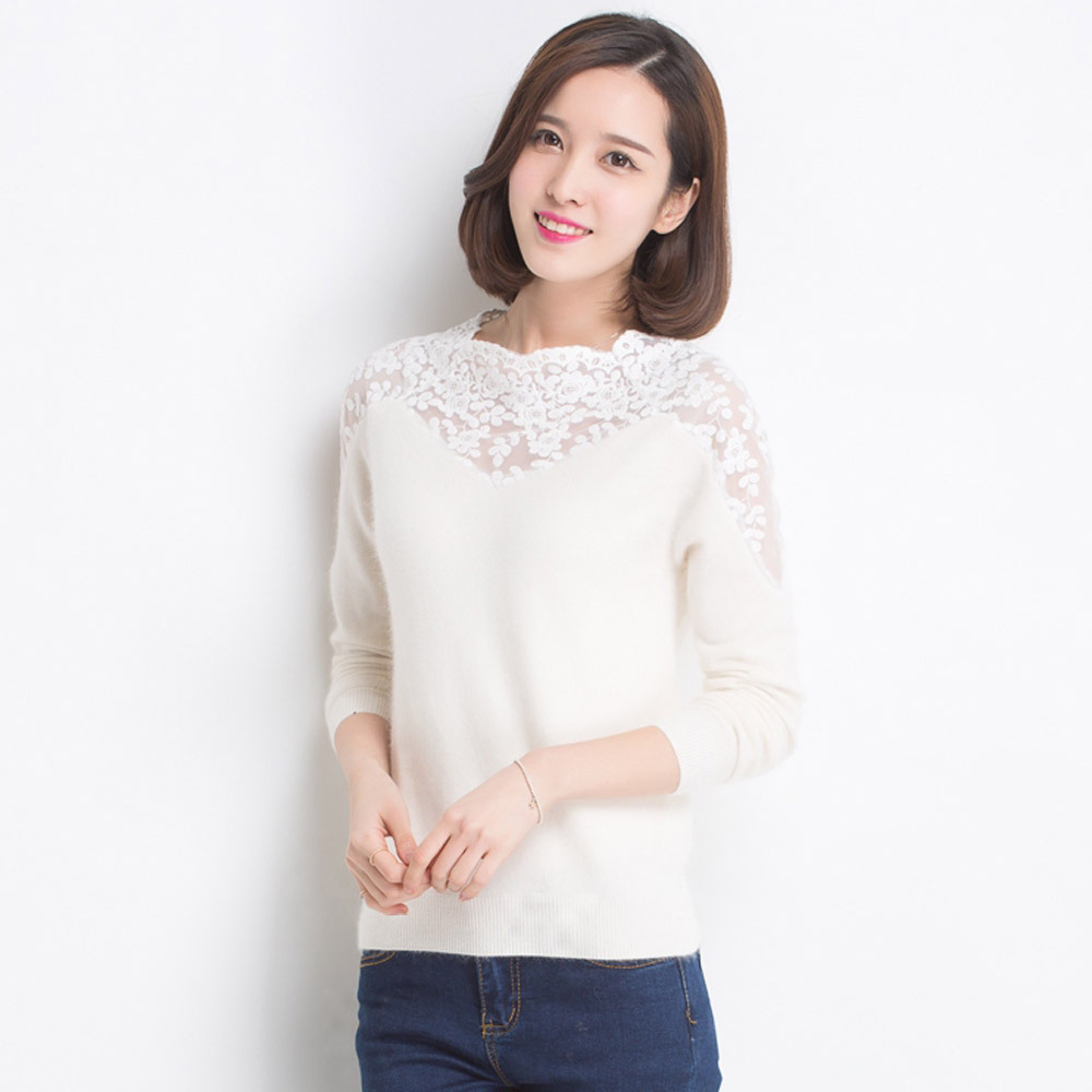 2015 New Arrival Turtleneck Cashmere Long Sweater Women Hollow Lace Flower Knitted Basic Shirt Thin Pullovers Y0313-170D