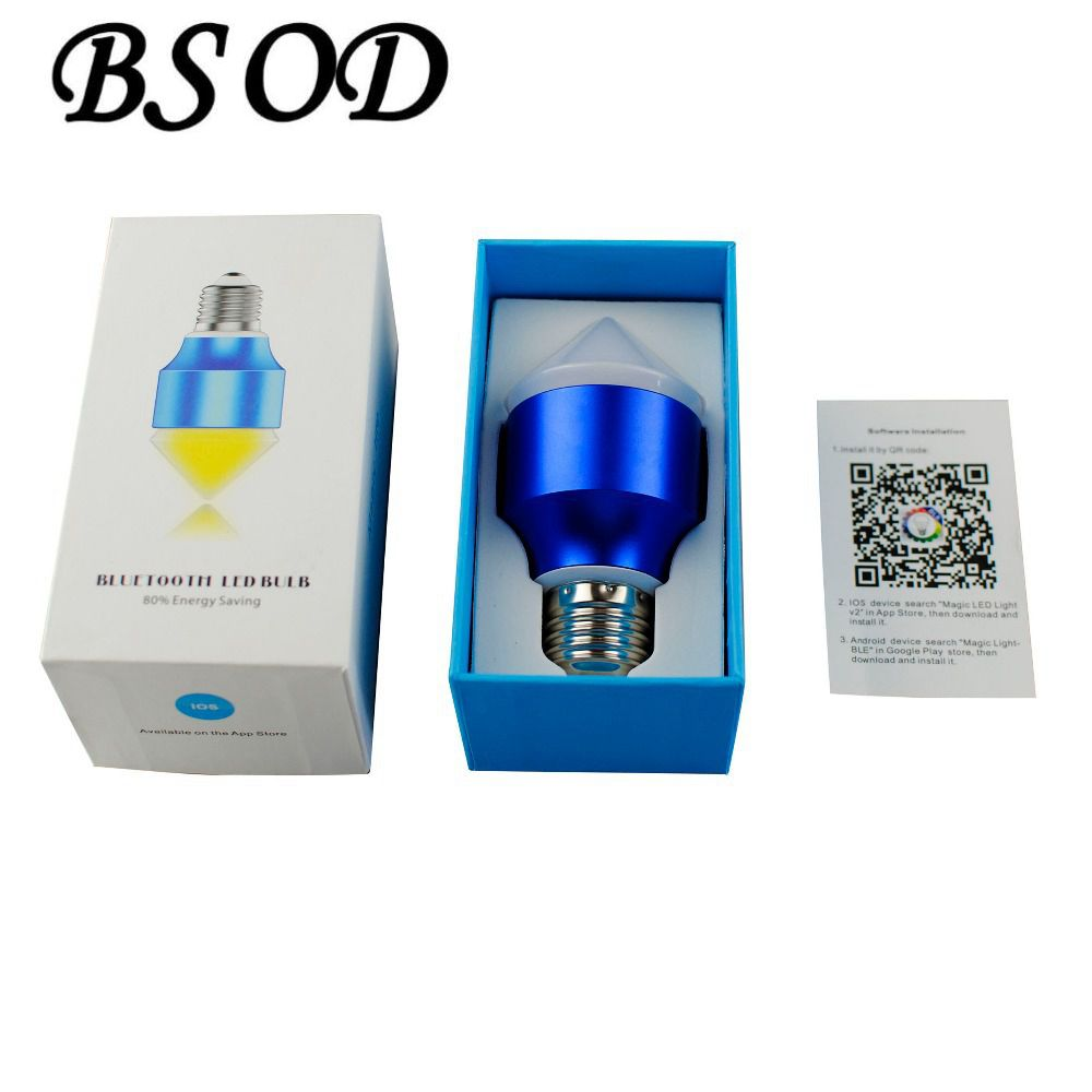 New Smartphone Control Multicolor Bluetooth Crystal Lamp RGBW 6w E27 LED Bulb IOS Android(China (Mainland))