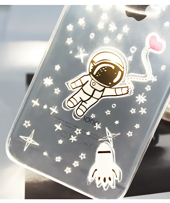 Fashion PC Flash Up light Led Mobile Phone Case Shell Cover for iPhone6 6s 5 5s 6plus 5.5inch Sakura Astronaut Releif Anti-Skid(China (Mainland))