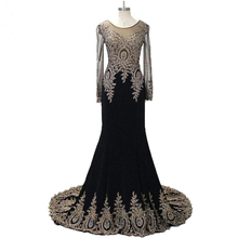100% Real Photos 2015 New Gold Appliques Lace Long Sleeve Elegant Evening Dresses Black Prom Dress Formal Evening Gowns(China (Mainland))
