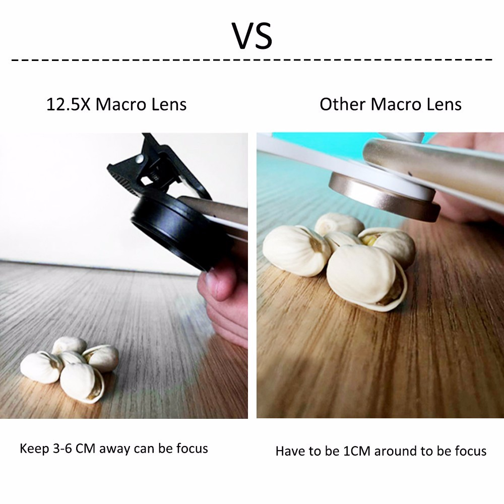 2017 Mobile Phone Lens Kit 2in1 0.45X Wide Angle 12.5X Macro Lenses With Clips 12X Zoom Telescope Telephoto Lentes With Clips