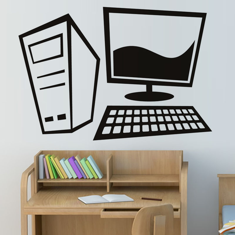 Creative Home Decor Vinyl Removable Simple Design Cartoon Computer Wall Sticker For Office
