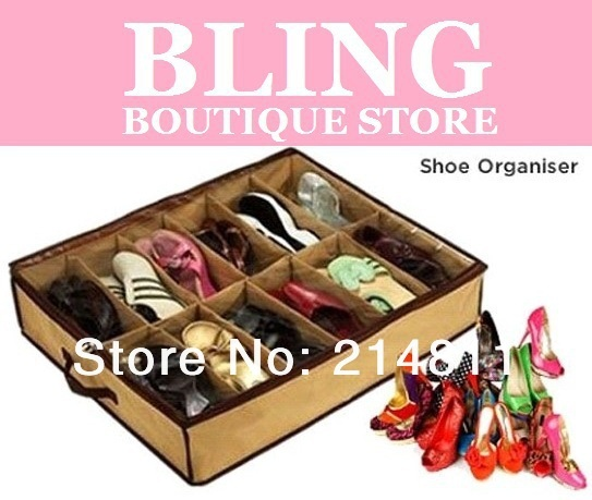 Bling Recommend Top Seller Free Shiping 12 Shoe Organizer Storage Box With Transparent Cover Good Quality Hot Selling 64X56X14CM
