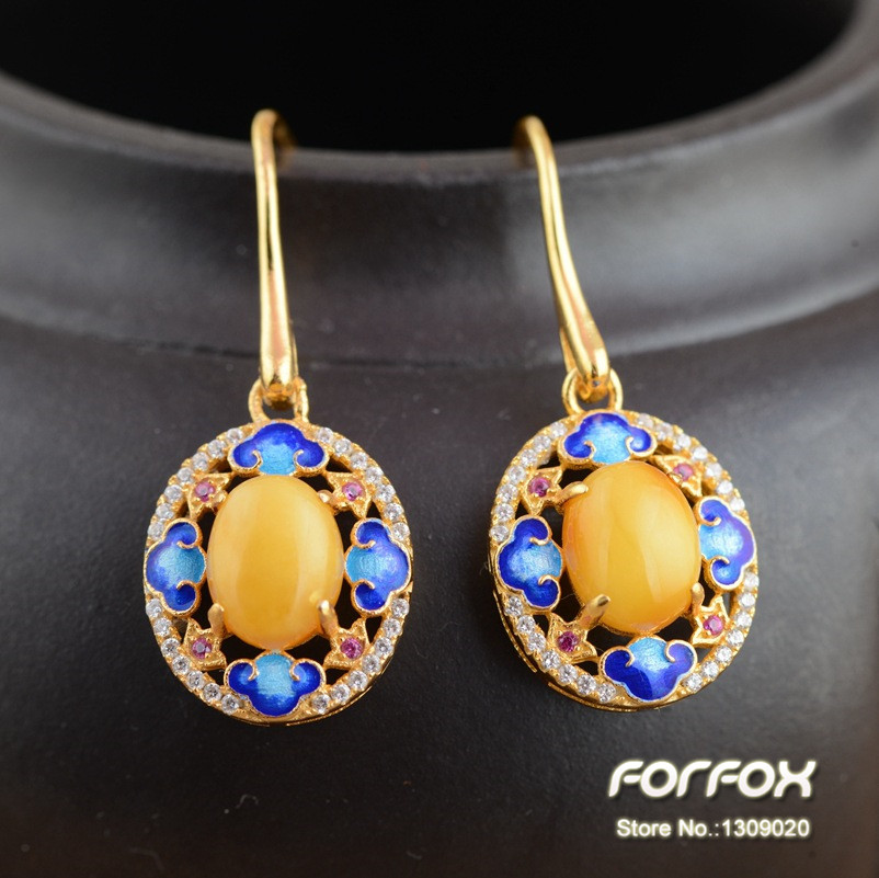 Luxury Gold 925 Sterling Silver Natural Amber Earrings for Women Girls Free Shipping<br><br>Aliexpress