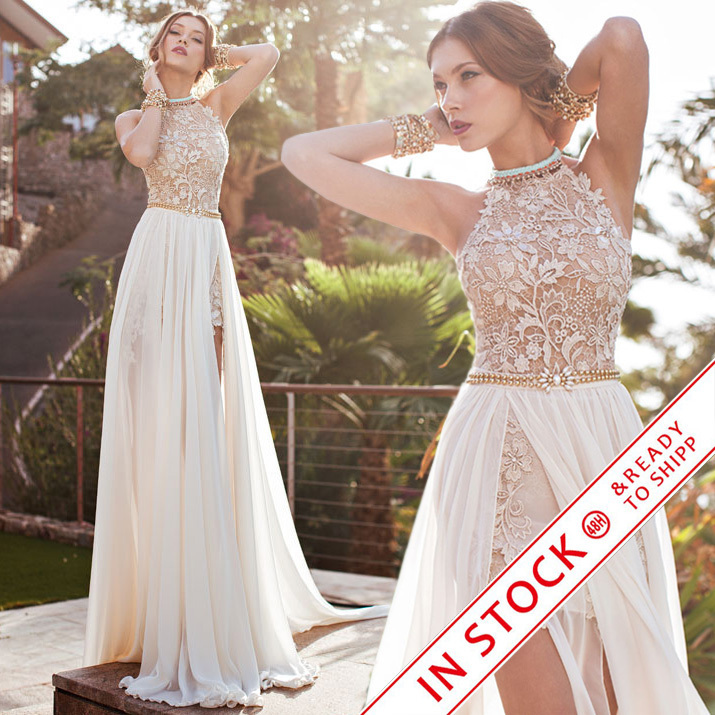 In Stock Vestido de Noiva Real Samples Romantic Halter Beaded Lace Prom Dresses Long 2017 Beach Chiffon Backless Evening Gown(China (Mainland))