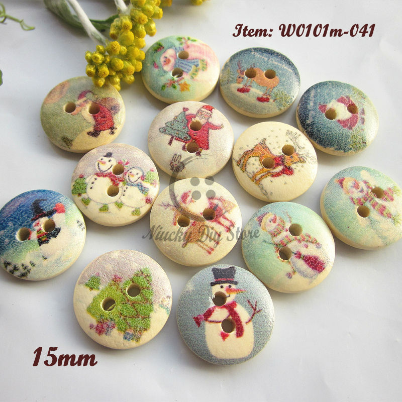 Christmas series 250pcs Random Mixed Christmas wood sewing buttons scrapbooking craft decorative accessories wholesale(China (Mainland))