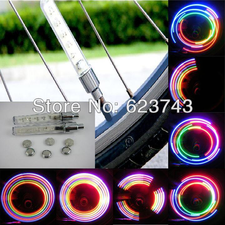 Free Shipping 10 PCS Wheel Lights LED bike wheel light, LED Bike Spoke light,32 Colors Bike Bicycle Spoke Tire light 5 LEDs(China (Mainland))