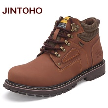 JINTOHO Big Size Men Ankle Boots High Quality Genuine Leather Men Work&Safety Boots Winter Shoes Rubber Boots For Men Work Shoes(China (Mainland))