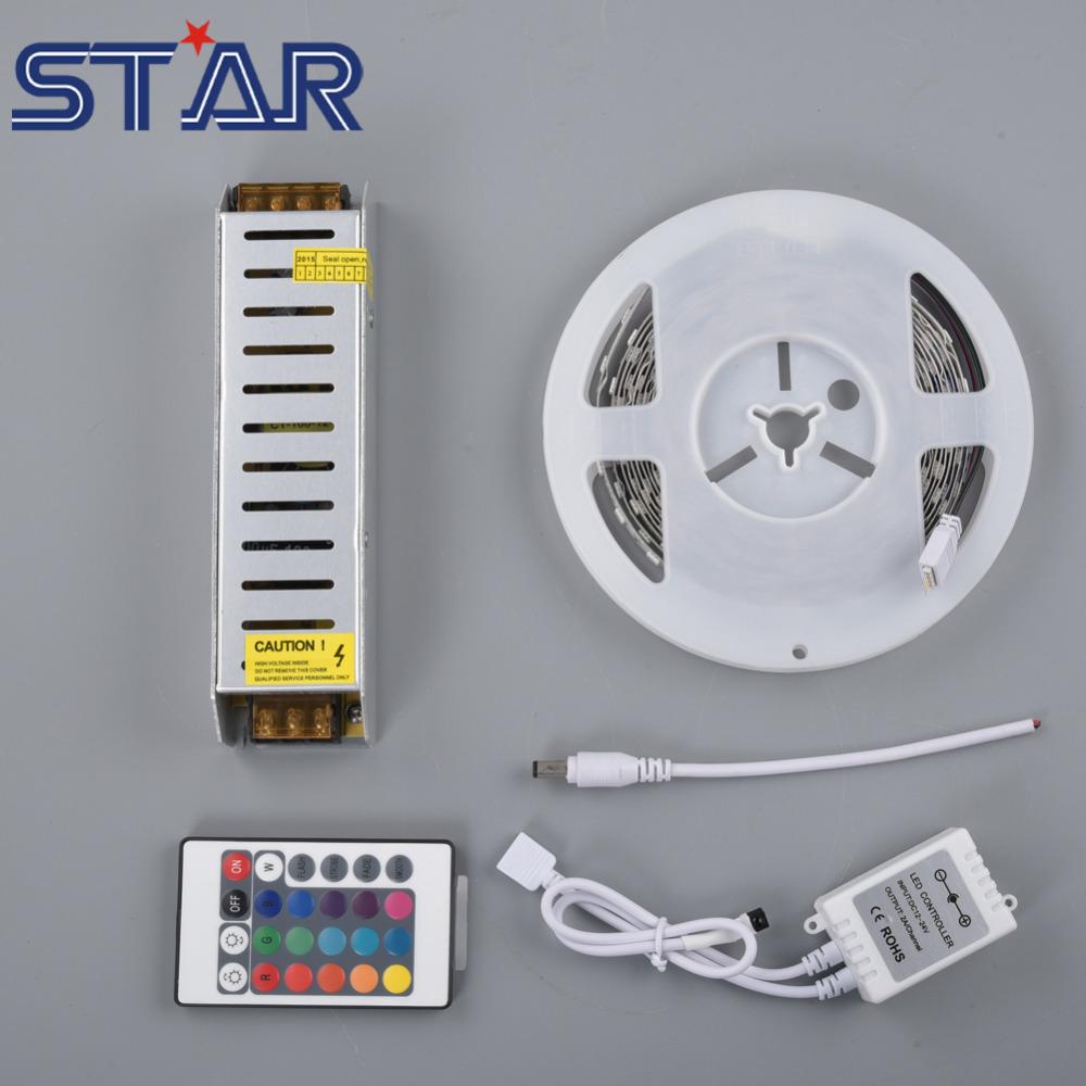 5m SMD 5050 RGB LED Strip Light 60leds/m DC12V LED Tape Ribbon Ledstrip Non-Waterproof + 100W LED Transformer+RGB Controller(China (Mainland))