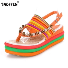 Women Wedges Sandals Sexy Bohemia Casual Rainbow Clip Toe Flip Flops Beading Platform Sandals For Woman Shoes Size 34-39 PA00254(China (Mainland))