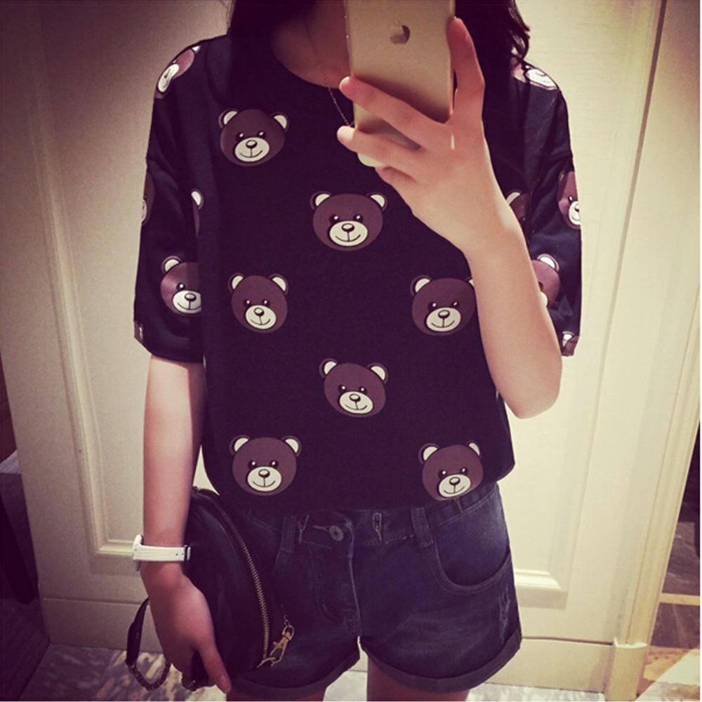 Spring and summer women's cotton T-shirt fashion cute cartoon bear pattern printed short-sleeved T-shirt soft loose elasticity(China (Mainland))